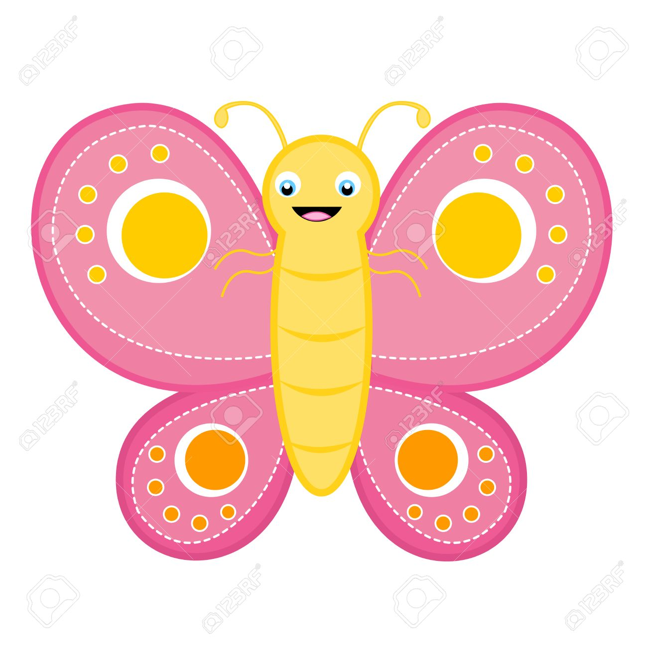 Cute happy smiling butterfly clip art isolated on white background.