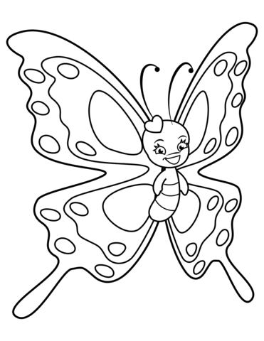 Cute Butterfly with Sweet Smile coloring page.