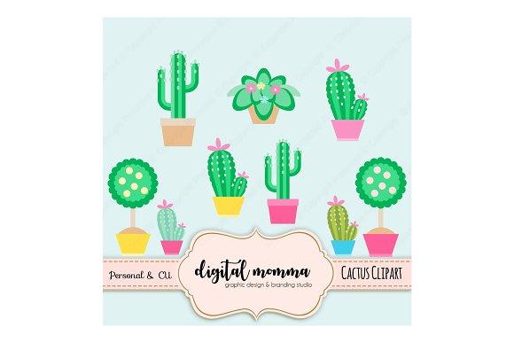 Cute Cactus, Topiary Clipart Set.