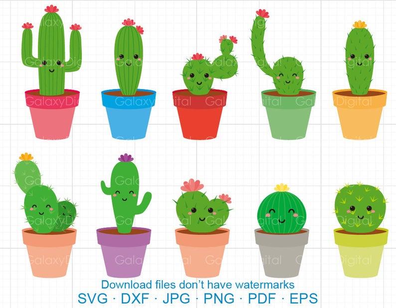 Cute Cactus Clipart SVG, Cactus SVG DXF Silhouette Cricut Cut Files  Commercial use.