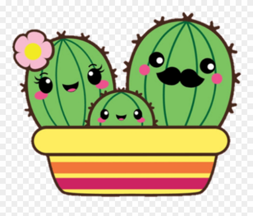 Cute Cactus Png Clipart Black And White Transparent Png (#248780.