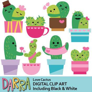 Love Cactus Clip Art, Valentine Cacti Clipart.