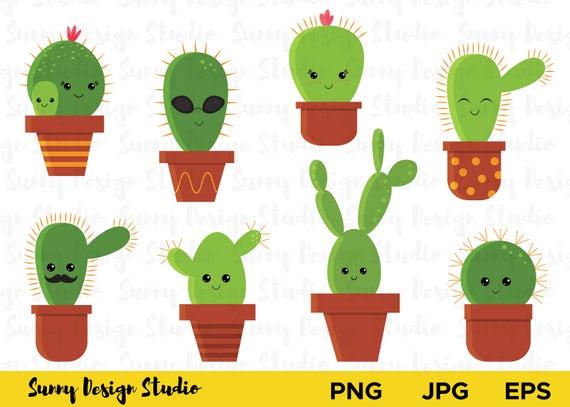 Cute cactus clipart, Cacti Clip Art Set, Cartoon Cactus with Face Plant,  Vector Clipart Desert, Summer, High Quality Vectors, Kawaii set.