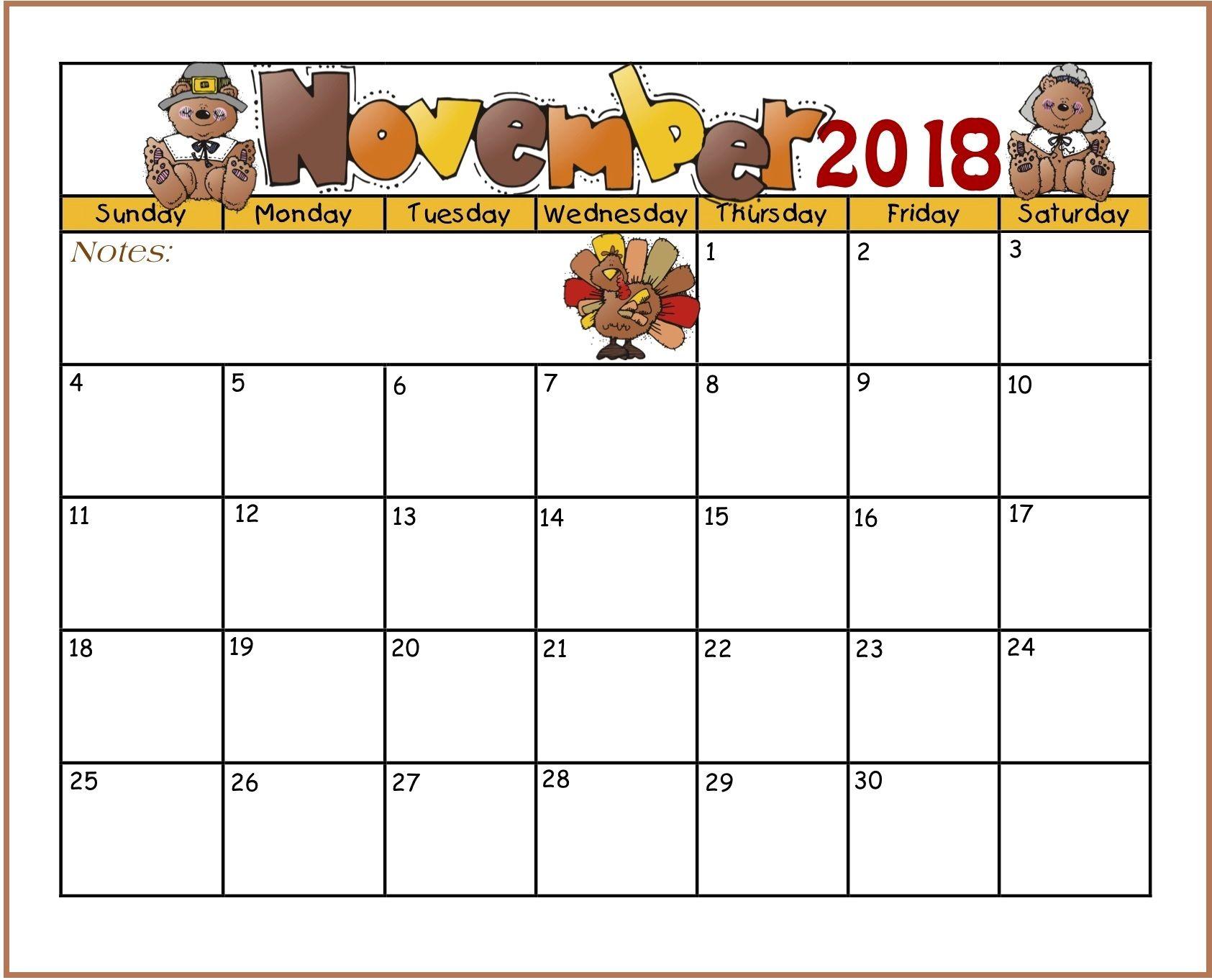 Cute November 2018 Calendar Clipart.