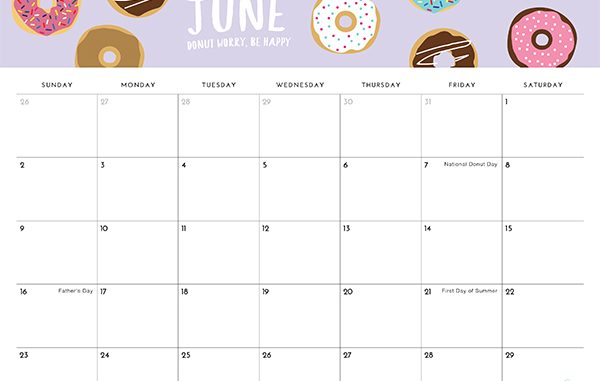 Decorative June 2019 Cute Calendar.