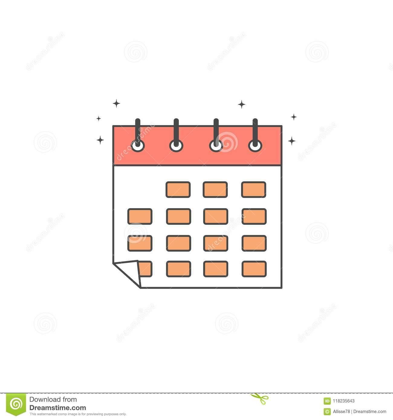 Cute Cartoon Vector Calendar Icon Stock Vector.