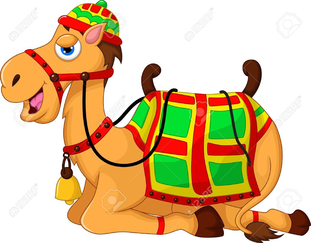 cute camel cartoon sitting.