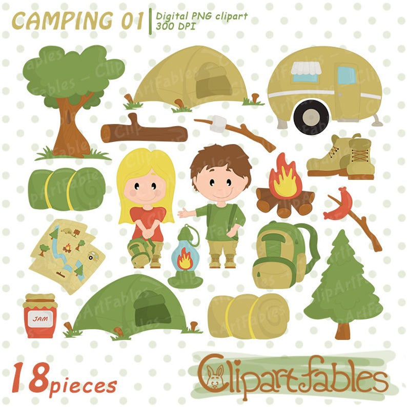 CAMPING clipart, Camp fire clip art, Cute outdoor digital clipart, Kids  hike clipart graphics.