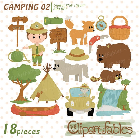 CAMP clipart, cute RANGER clip art, Tent, Fishing, Hiking art, Wild life,  Mountains, Forest, Waterfall, outdoor clipart.