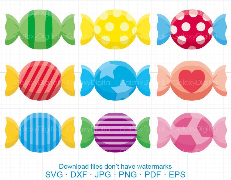 Cute Candy Clipart SVG, Sweets Clipart SVG DXF Silhouette Cricut Cut Files  Commercial use.