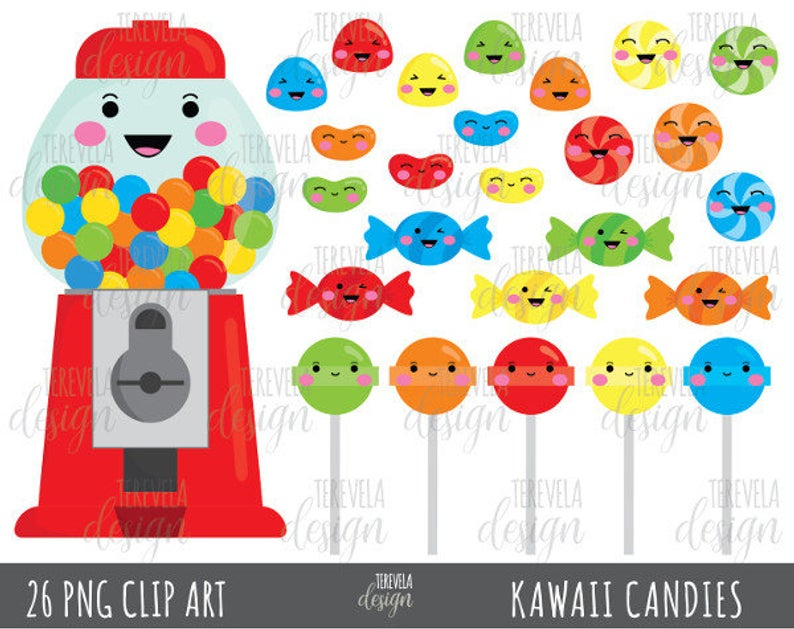 50% SALE CANDY clipart, bubble gum clipart, kawaii candies clipart,  commercial use, candies graphics, kawaii clipart, cute candies.