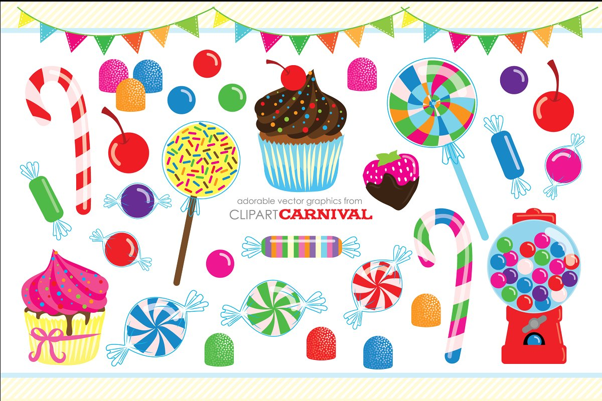 Cute Candy Coated Clipart Cupcakes.