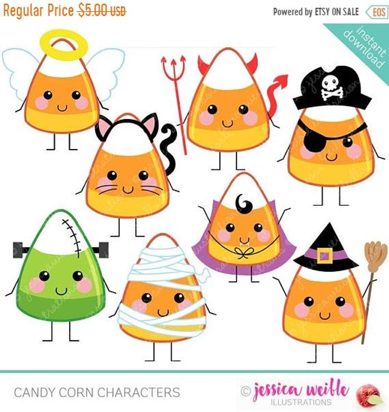 SALE Candy Corn Characters Cute Digital Clipart.