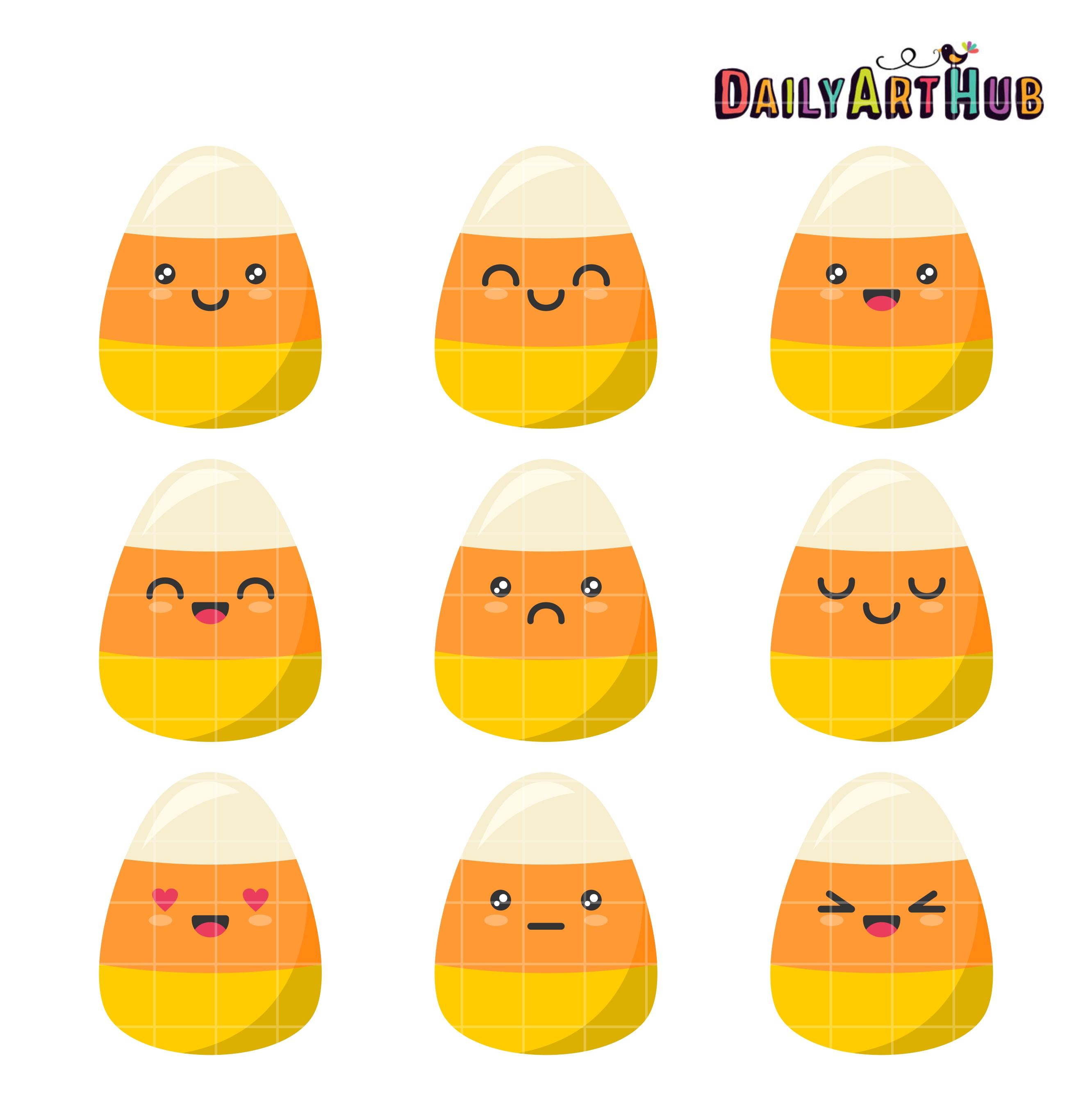 Candy Corn Emojis Clip Art Set.