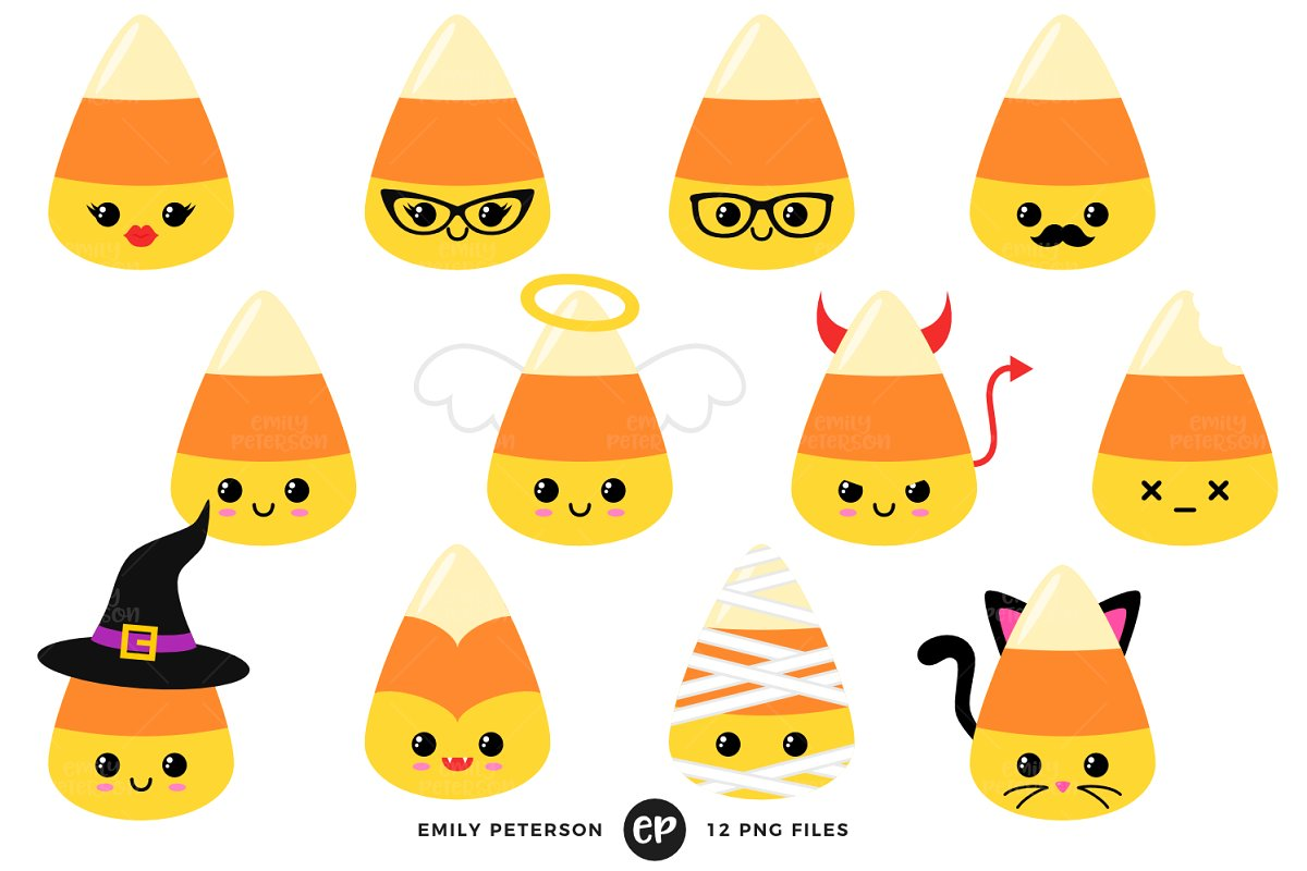Kawaii Candy Corn Clipart.