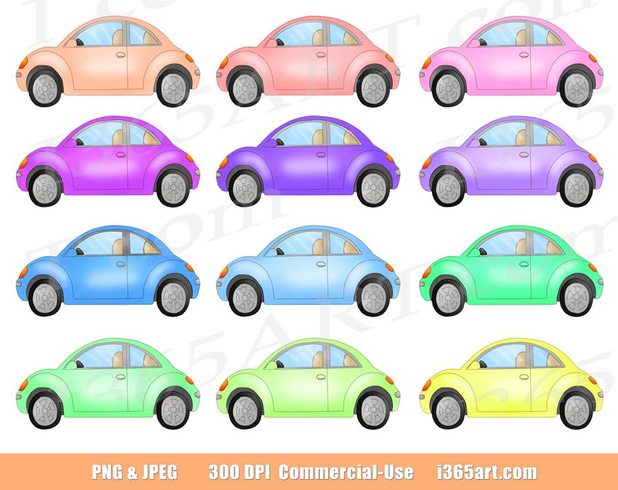 Cute Car Clipart, Old Fashion Beetle Cars Clip Art Set.