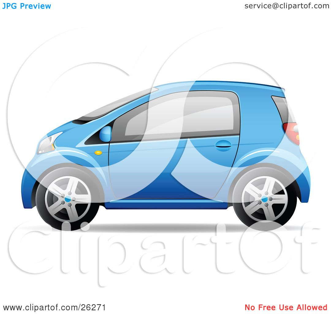 Clipart Illustration of a Cute Little Blue Compact Car Resembling.