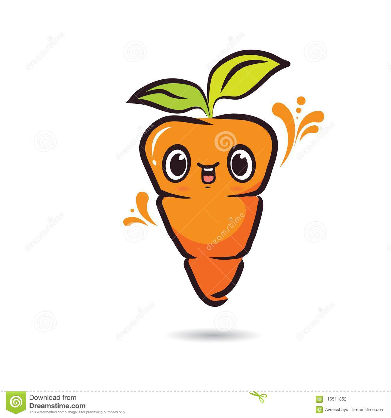 Cute Character Design Carrot Face Stock Vector.