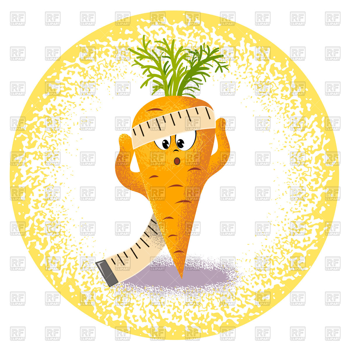 Cute carrot with measuring tape Stock Vector Image.