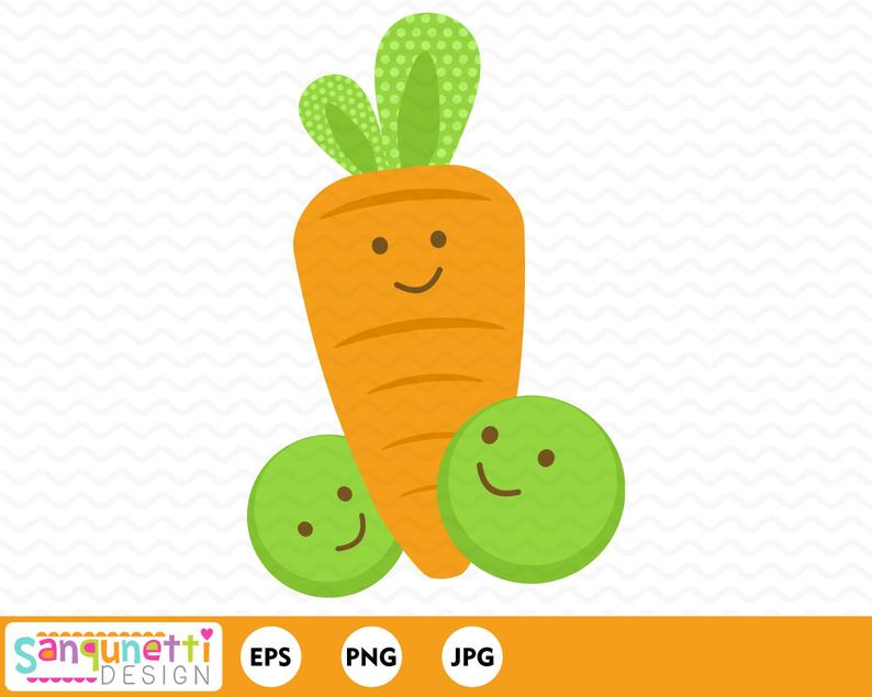 peas and carrots clipart, nursery and baby digital art, instant download.