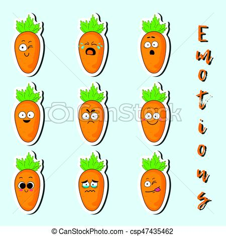 Cartoon carrot cute character face sticker..