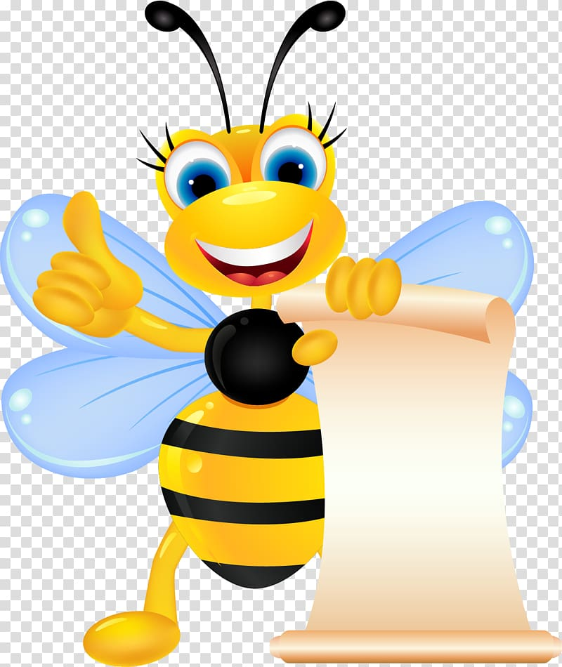 Bee Insect , Cute cartoon bee transparent background PNG.