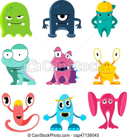 Cute cartoon monsters, vector illustration of funny characters.