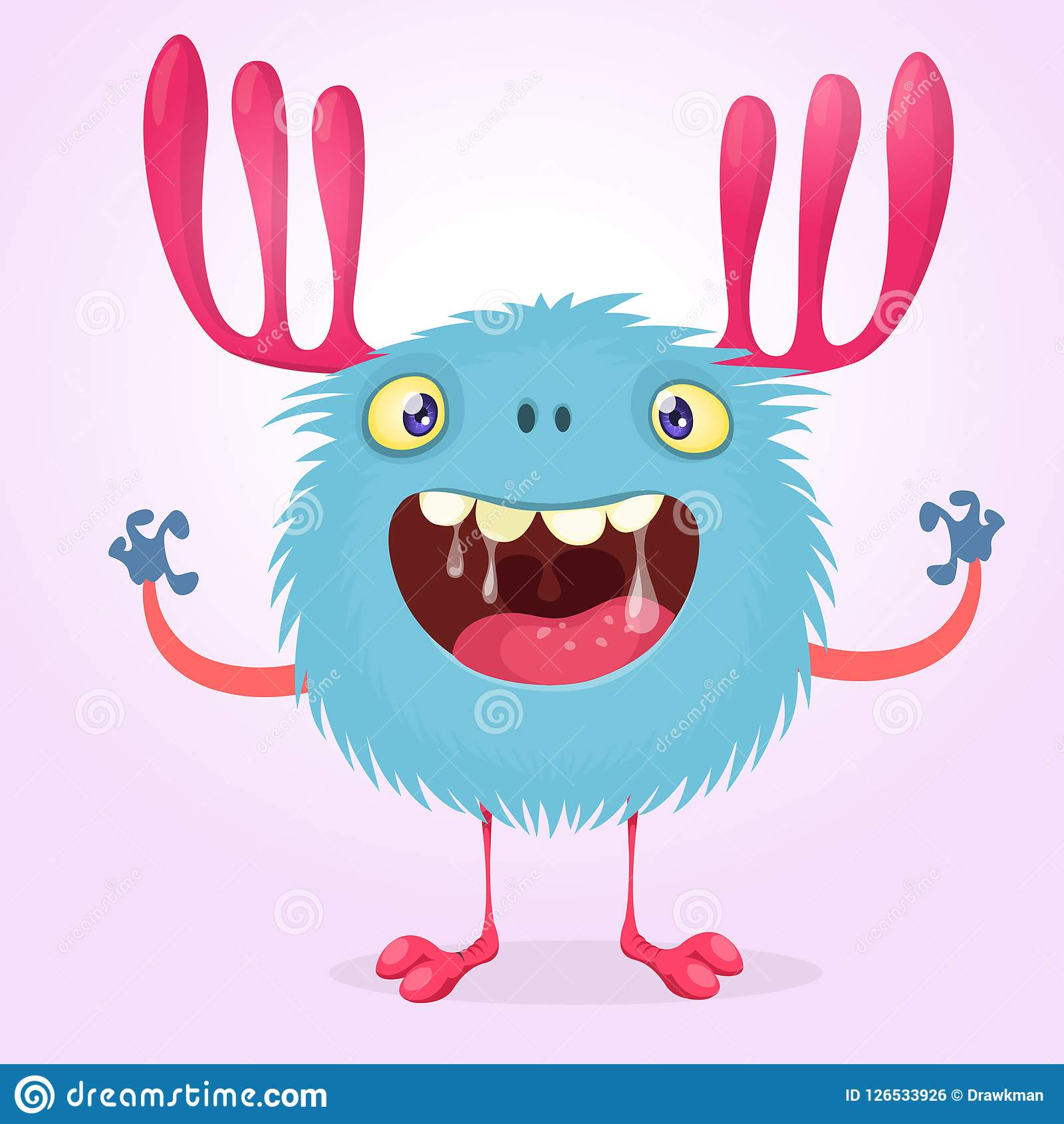 Cute Cartoon Monster Character With Big Horns Stock Vector.