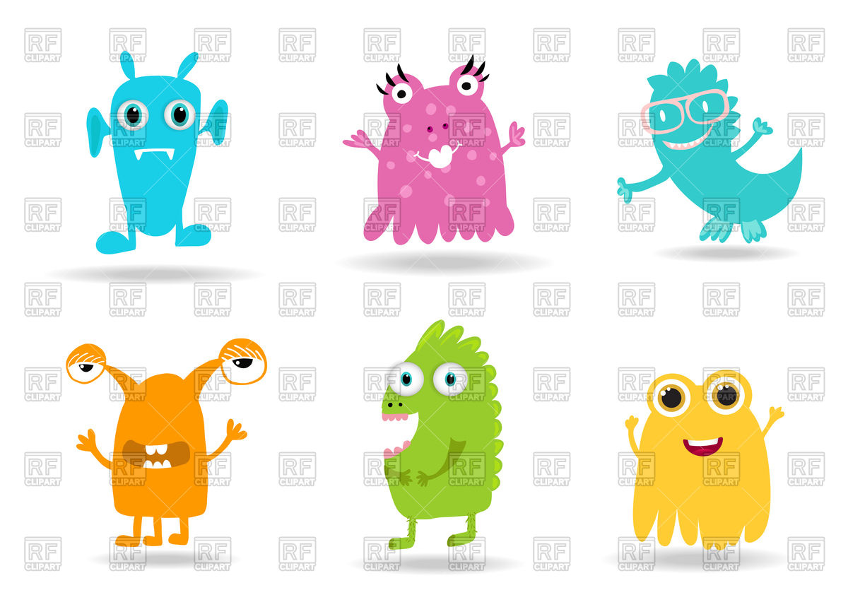 Cute cartoon monsters set Stock Vector Image.