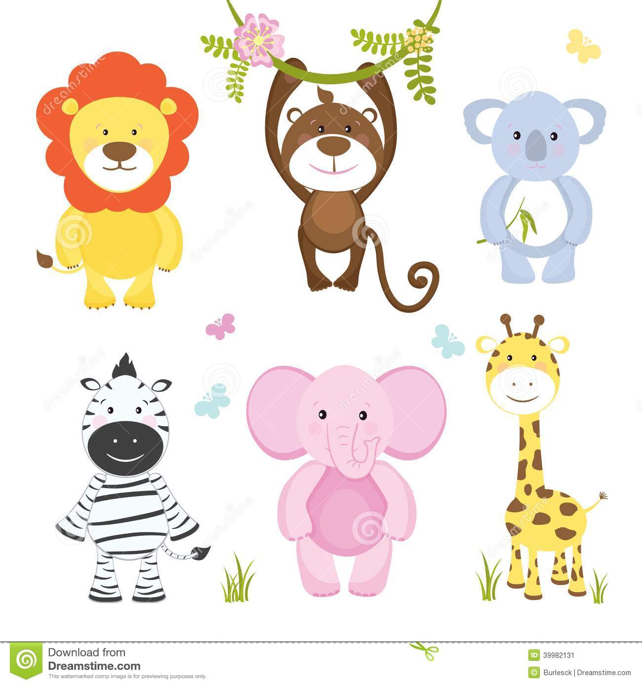 Set Of Cute Vector Cartoon Wild Animals Stock Vector.