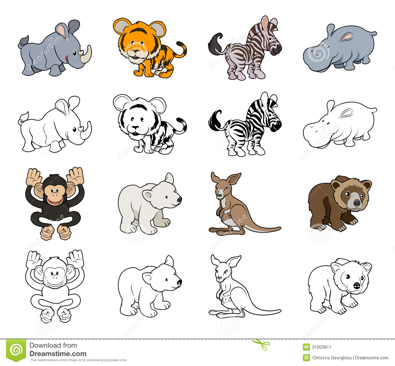 Cartoon Wild Animal Illustrations Stock Image.