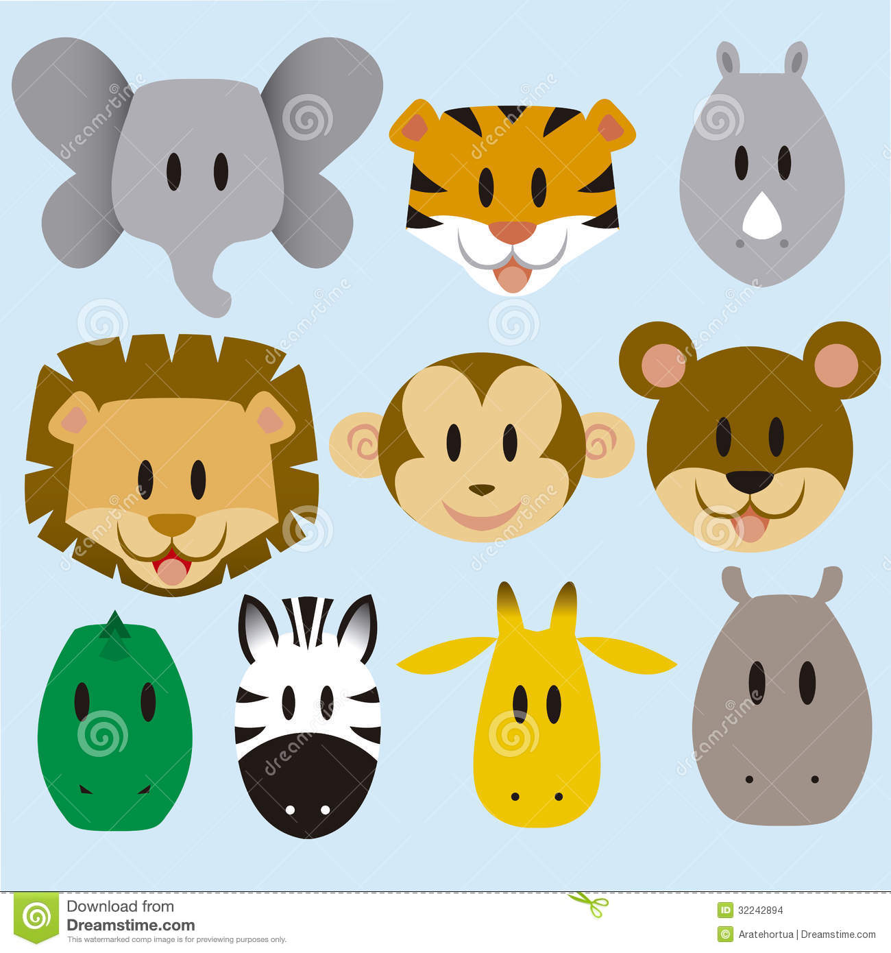 Cute <b>Animals</b> Vector Set Stock Images.