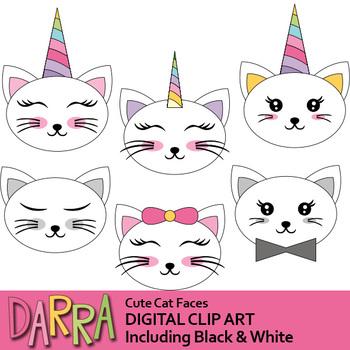 Cat clip art, Cute cat faces clipart.