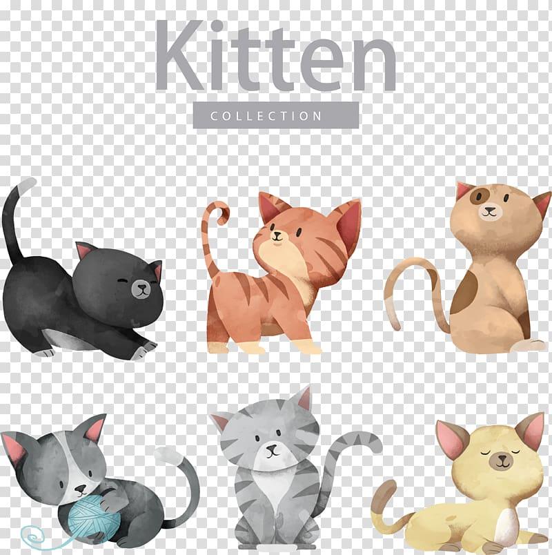 Cat Dog Kitten Illustration, Cartoon cute cat , kitten collection.