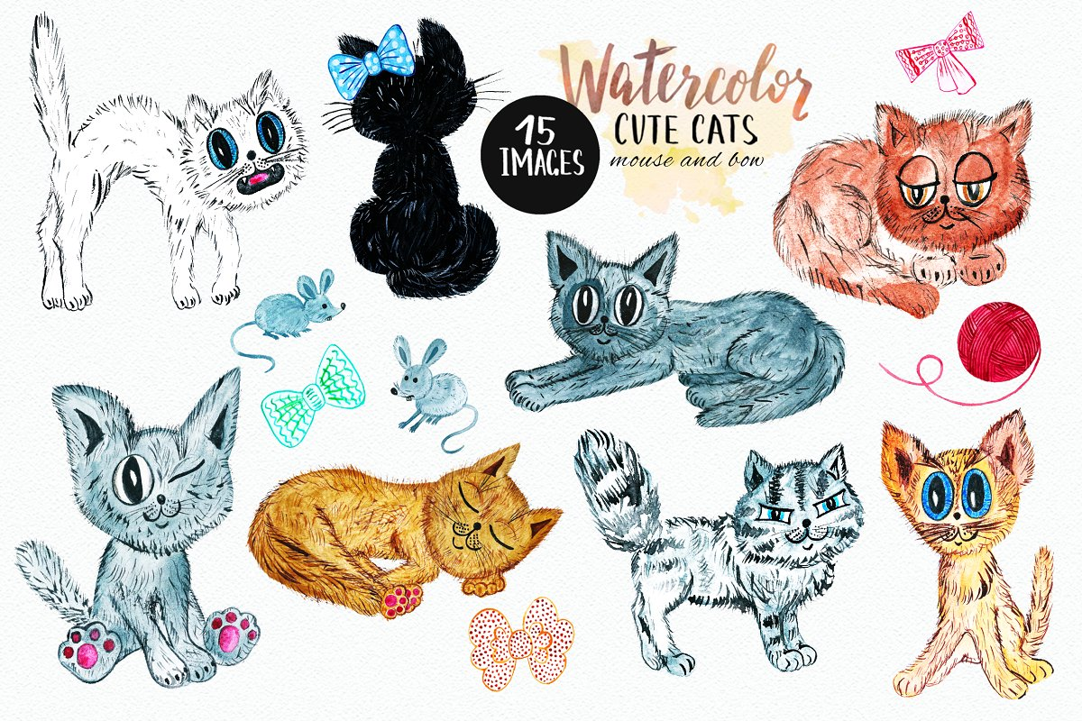 Watercolor Cute Cats Clipart.
