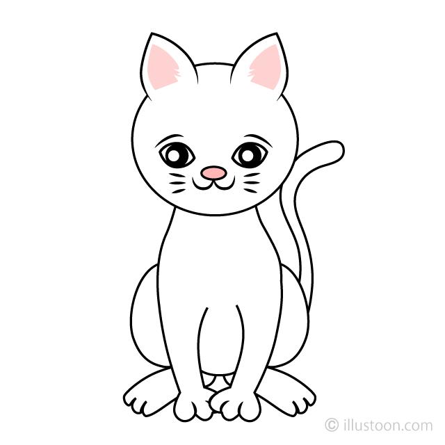 Cute White Cat Clipart Free Picture|Illustoon.