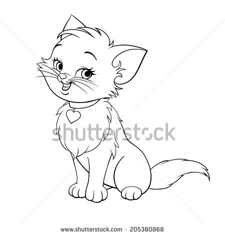 Vector happy cute fun kitten cartoon smiling character cat line art.