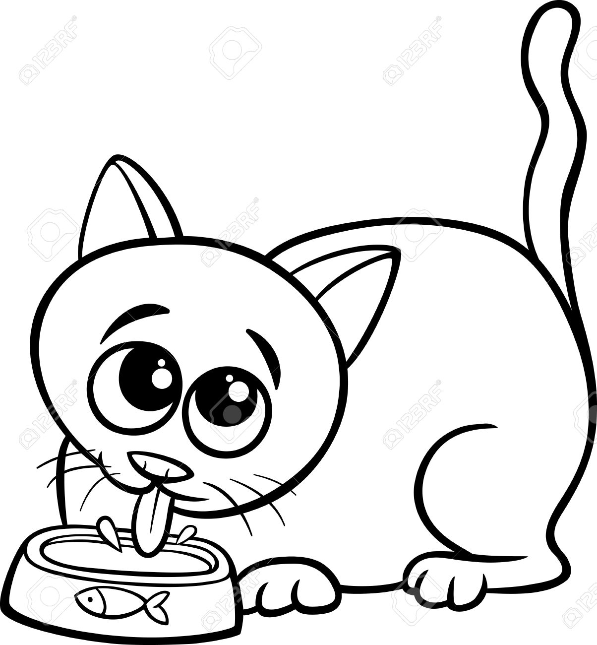 Black and White Cartoon Illustration of Cute Cat Drinking Milk...