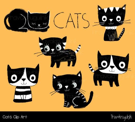 Cute cat clipart, Black and white cat clip art, Kawaii kitty clipart,  Cartoon planner pet clipart, Scrapbooking kitten, Animal clipart set.