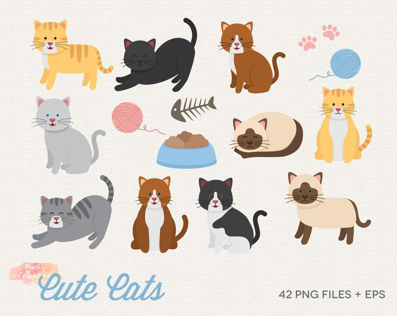 BUY 2 GET 1 FREE Cute Cats Clipart.