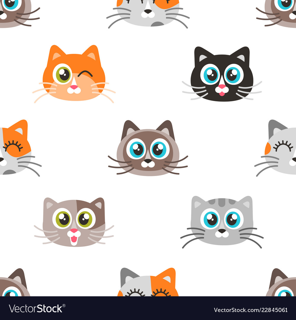 Pattern with icons of cute cat faces.