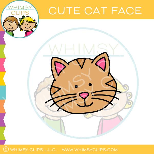 Cute Cat Face Clip Art.