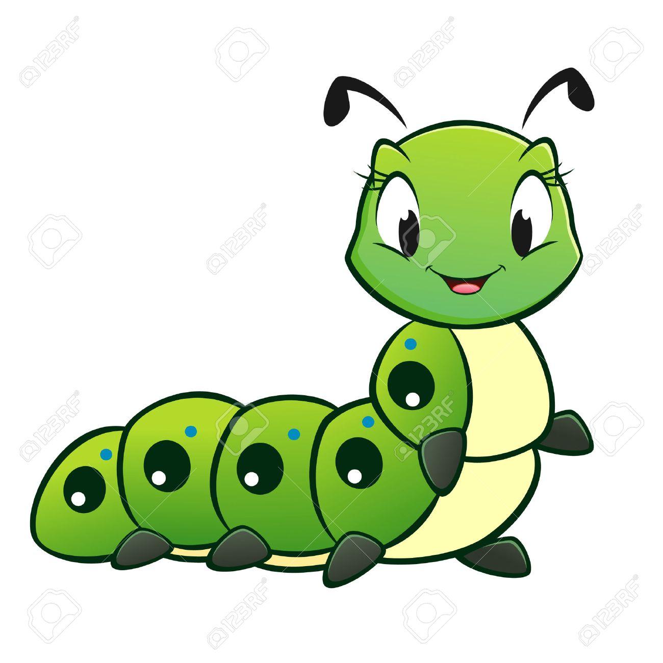 Cartoon vector cute caterpillar.
