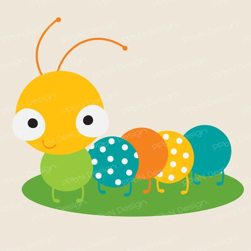 Cute caterpillar svg file and clipart image.