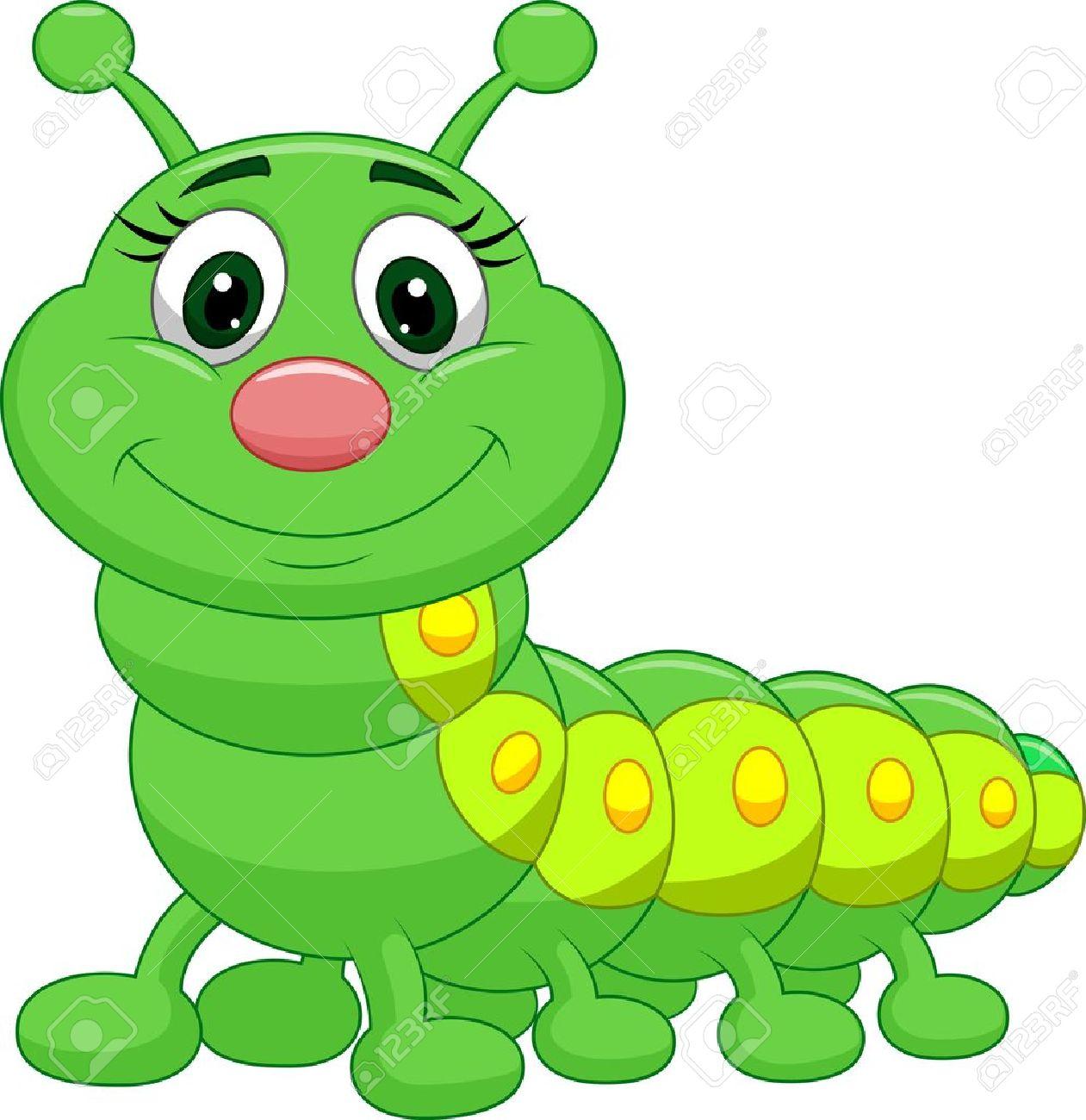 Cute green caterpillar cartoon.
