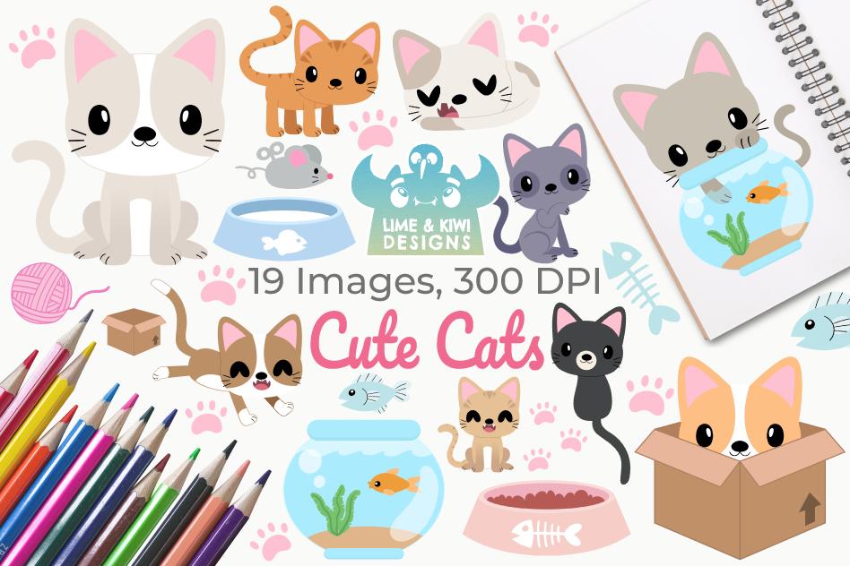 Cute Cats Clipart, Instant Download Vector Art.