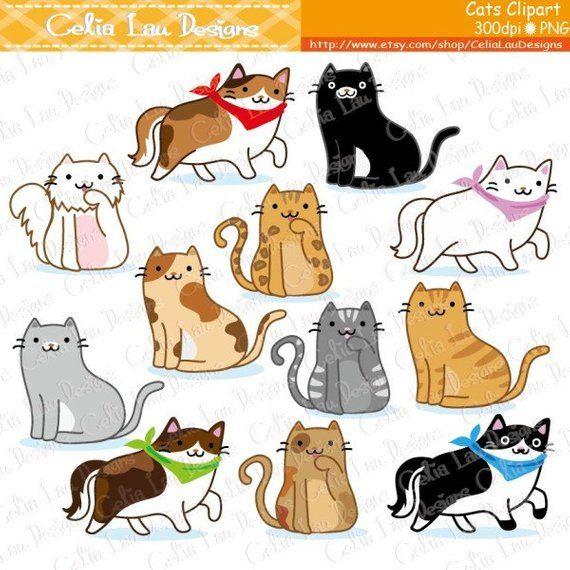 Cat Clipart, Kitten Clipart , cute cats clip art, kitty.