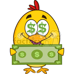royalty free rf clipart illustration cute yellow chick cartoon character  with dollar symbol eyes, holding cash money vector illustration isolated on.