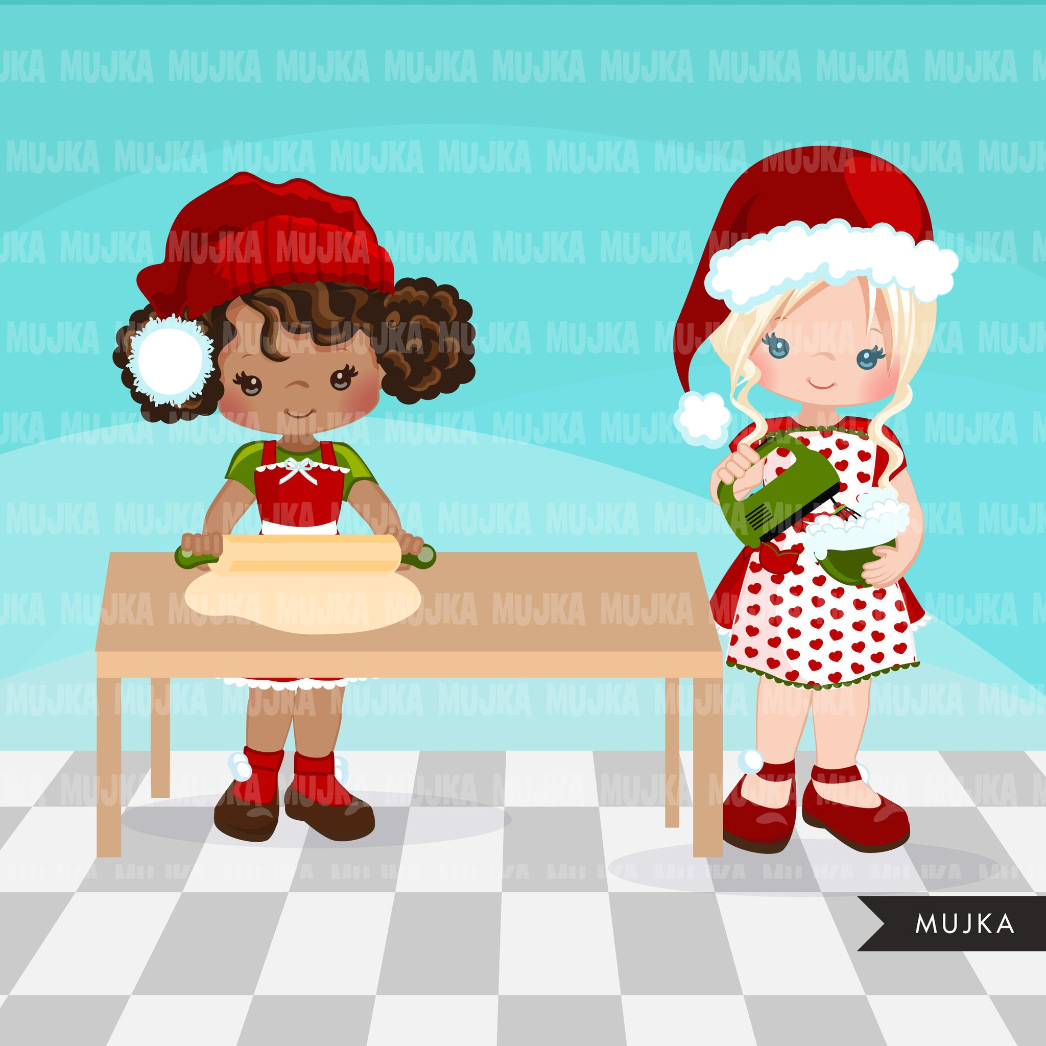 Christmas Baking Clipart, Cute baker girl characters, kitchen, baking party.