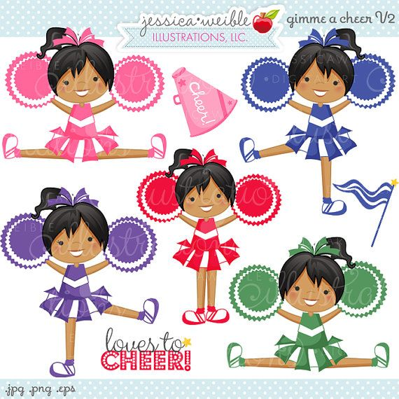 Gimme A CHEER V2 Cute Digital Clipart by JWIllustrations on.